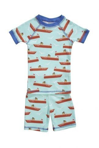 Organic pajamas made in the USA with boats.