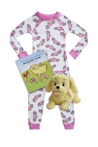 Convertible printed Organic kids pajamas with matching book and plush