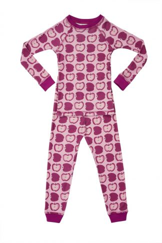 Organic Girls Pajamas Apple Print