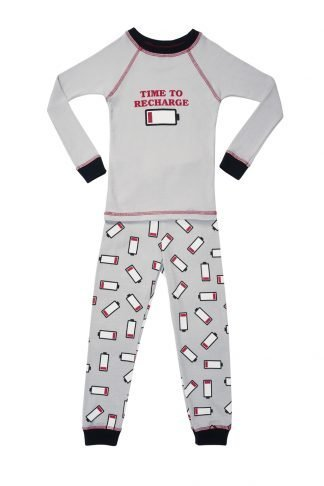 Organic Boys Pajamas Recharge Print Long Sleeve