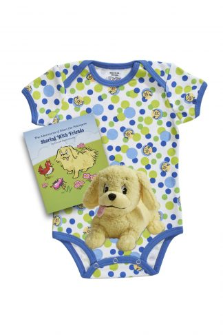 Blue bubble organic kids pajamas with book and plush