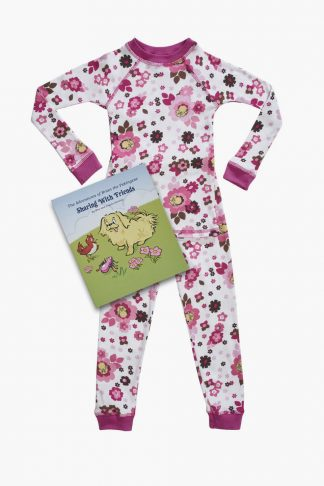 Organic kids pajamas in floral print with book