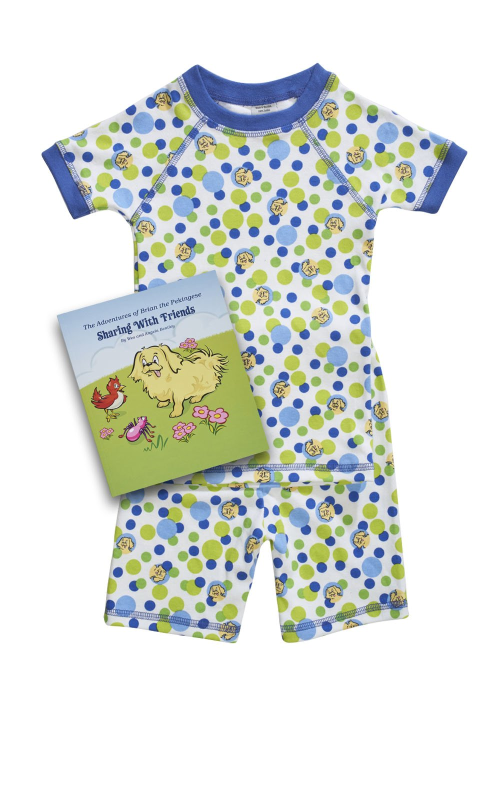 Short sleeve organic children pajamas blue bubble & book set