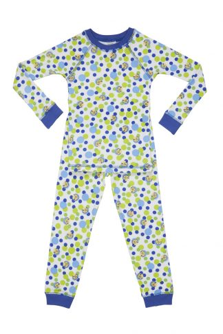 Organic children pajamas with blue bubbles