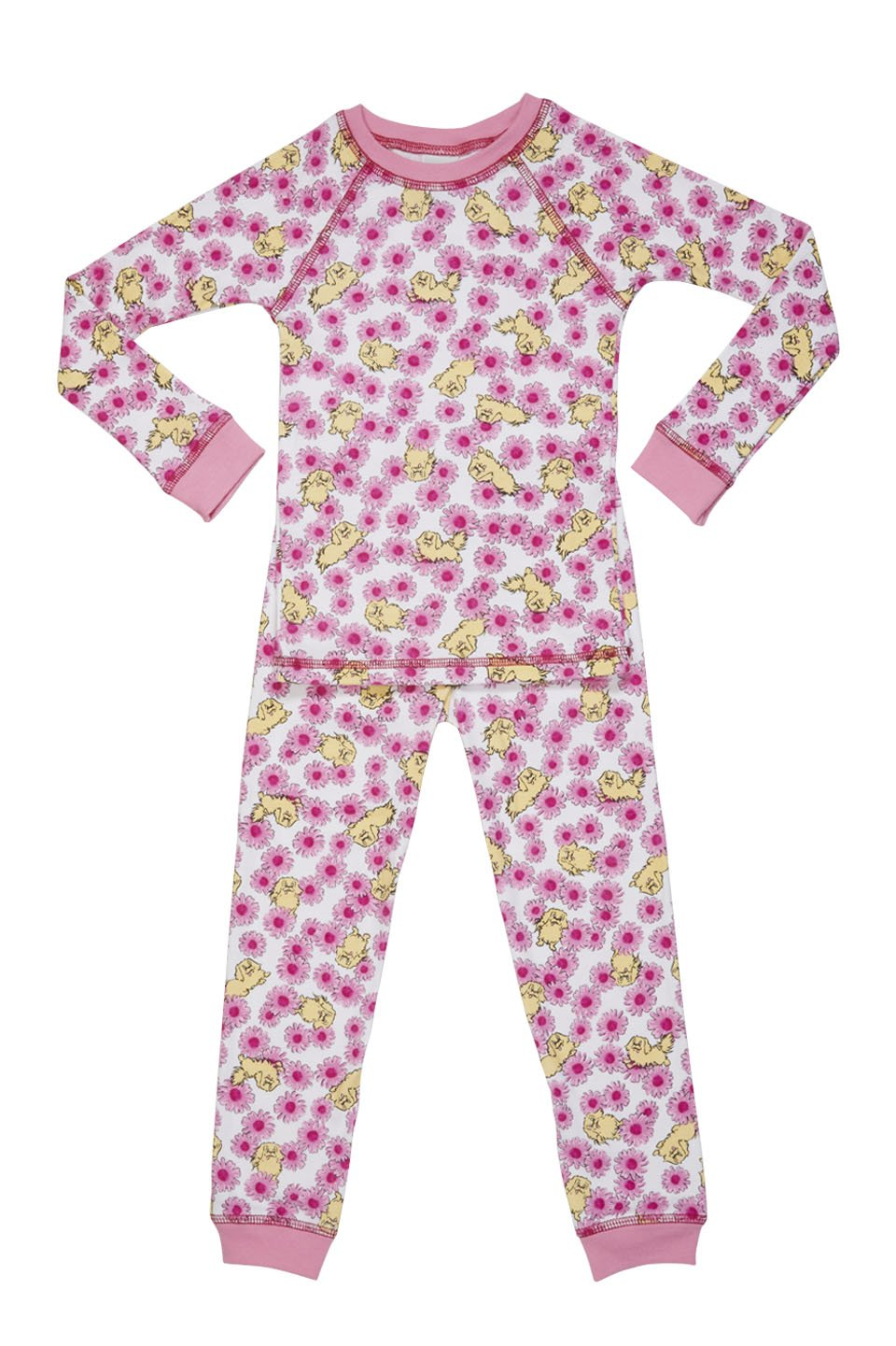 Organic children pajamas with pink daisies