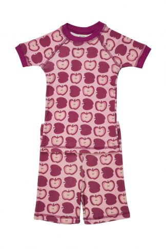 organic cotton kid pajamas apple pattern