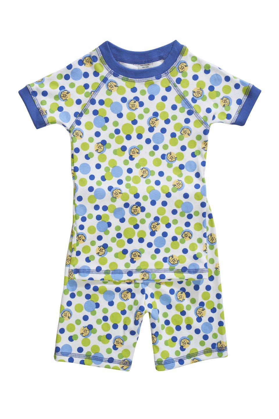 Blue bubble printed organic children pajamas