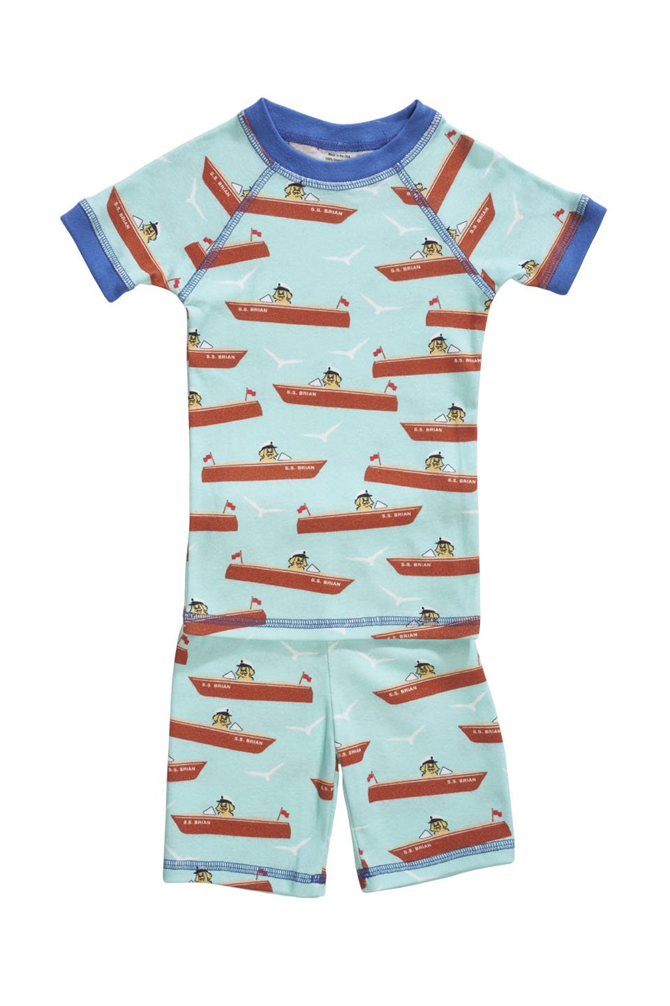 Organic cotton pajamas made in the USA with boats