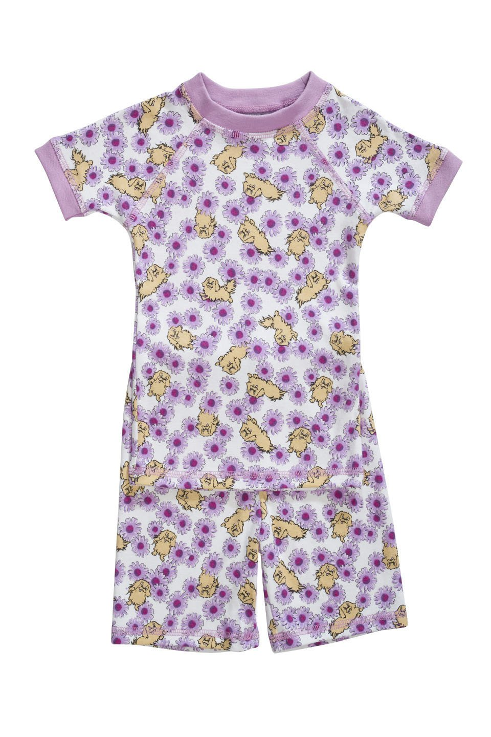 Organic pajamas made in the USA with purple daisies