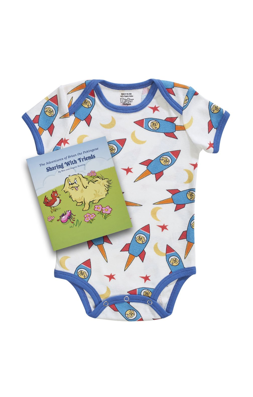 organic kids onesie pajamas rockets pattern with book