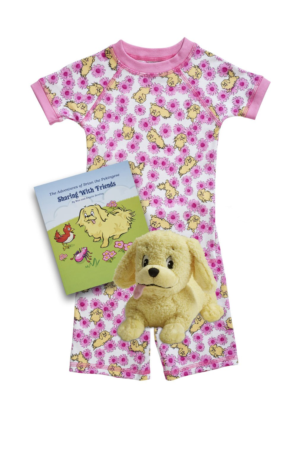 Pink Daisy Organic pajamas made in the USA with book and toy