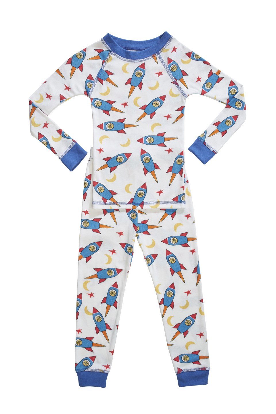 Organic Boys Pajamas Rocket Print