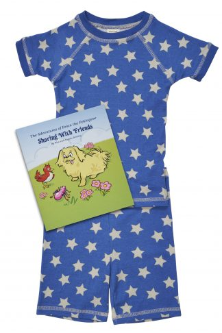 star print short sleeve pajamas, book and plush toy set