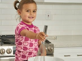 organic cotton pajamas girl cooking