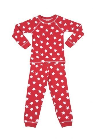 Long sleeve red star print pajamas