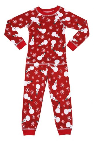 kids pajamas with snowman print