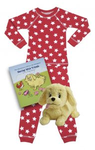 Red Star holiday kids pajamas with book and plush toy