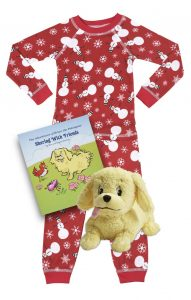 Organic holiday kids pajamas, book and plush toy set