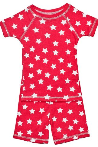 red star print short sleeve pajamas