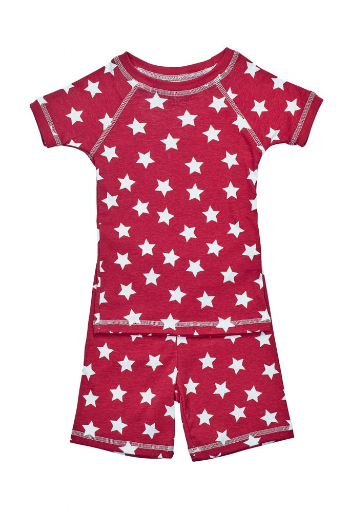 Organic summer pajamas – red star print