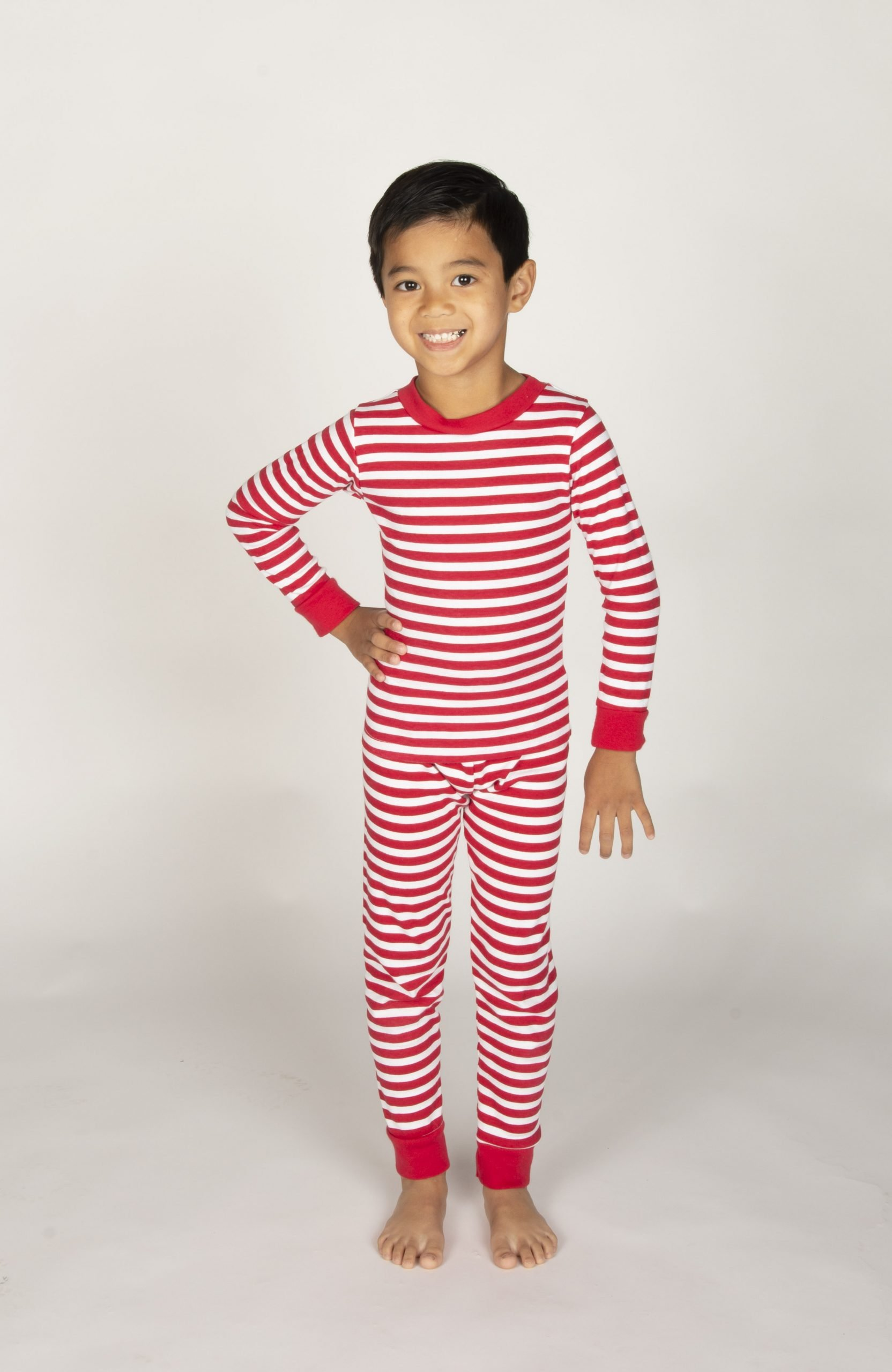 boy wearing stripe print pajamas