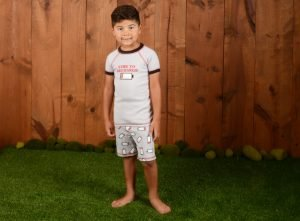 Boy wearing organic sleepwear