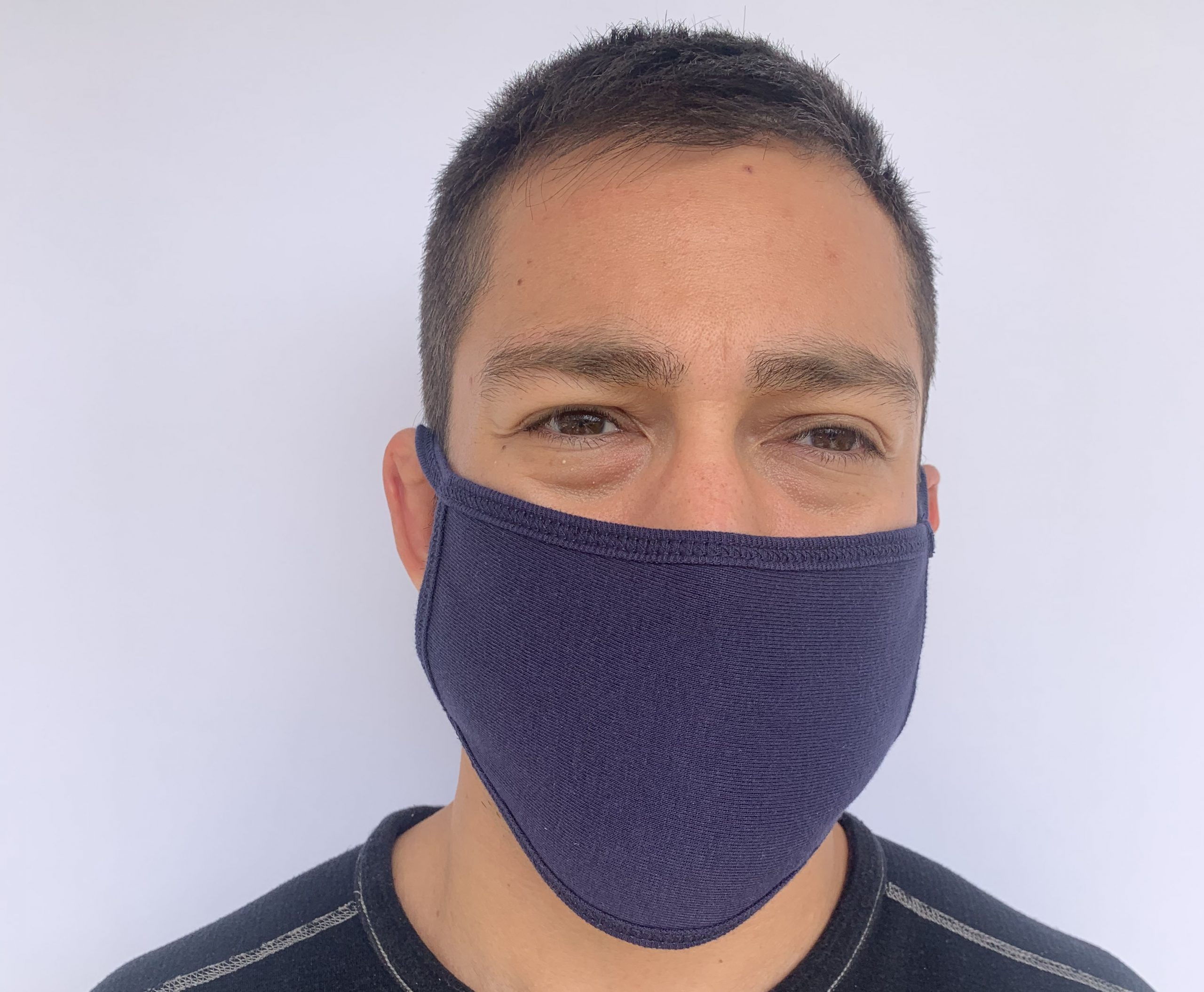 Man in navy face mask