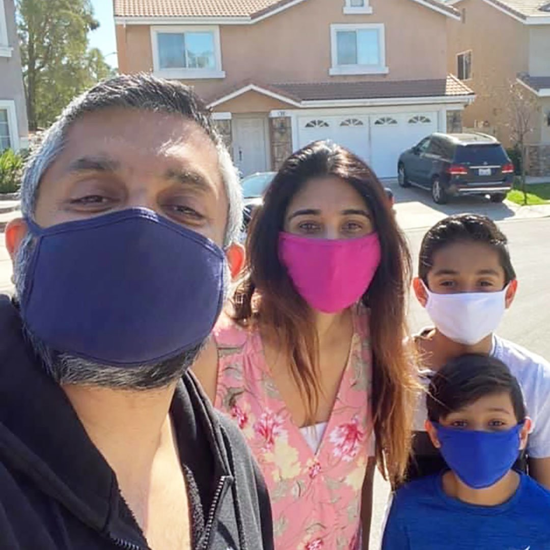 Family wearing face masks