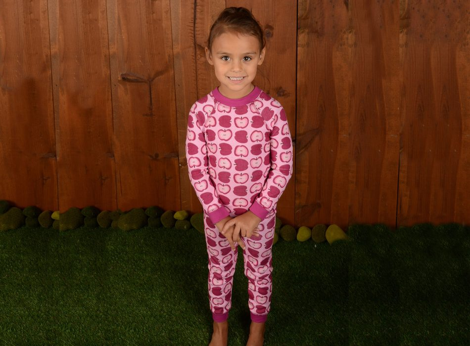 girl wearing organic pajamas