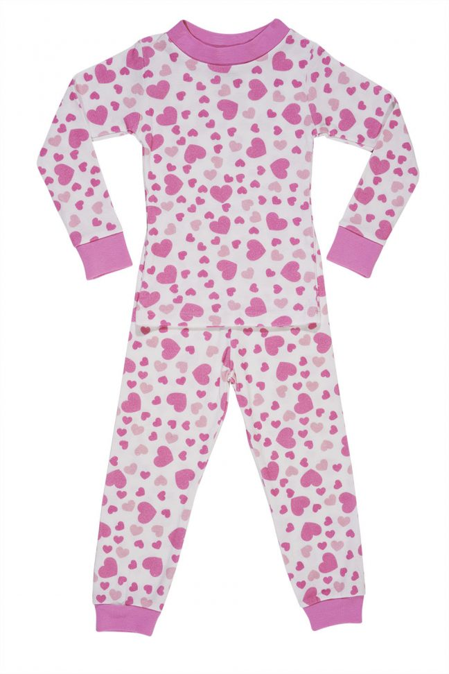 kids heart print pajamas with pink hearts