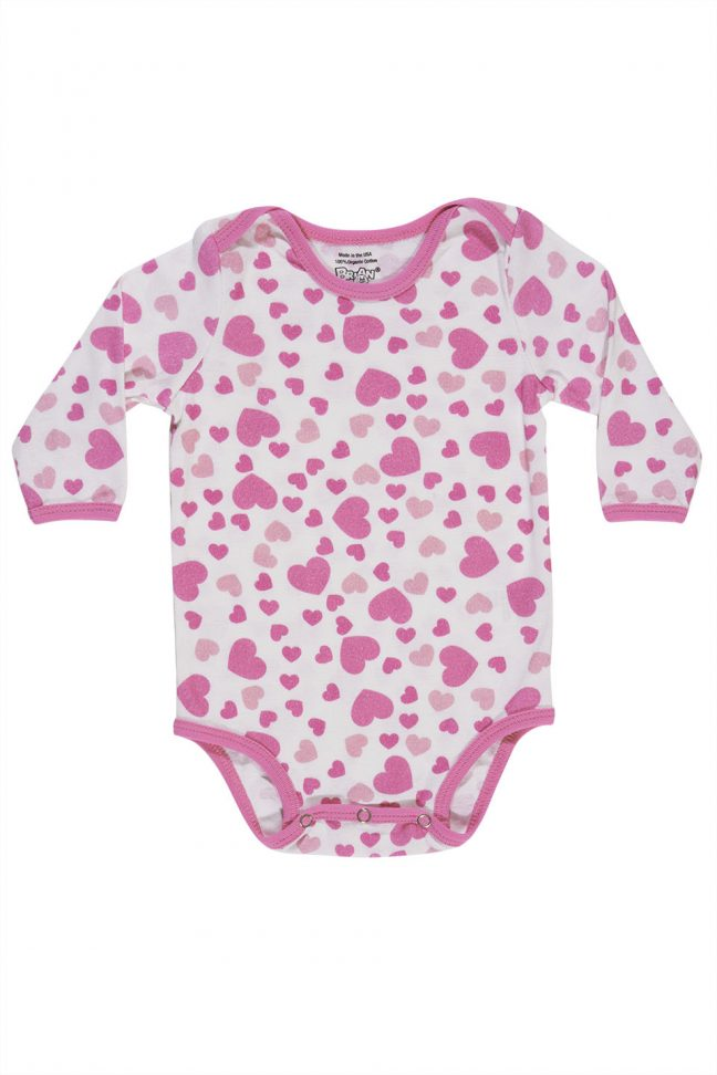 infant long sleeve onesie with heart print