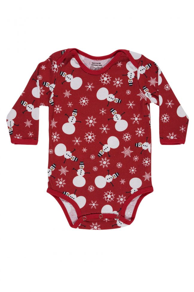 Long sleeve infant onesie with snowman print