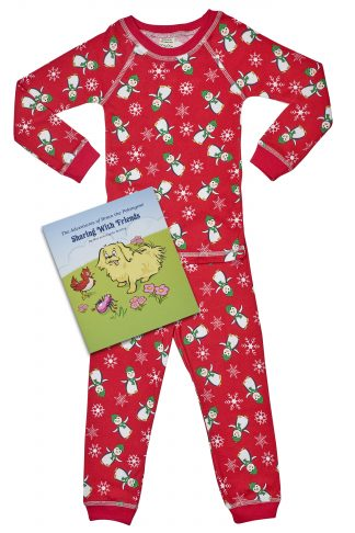 penguin pajamas with book and plush toy