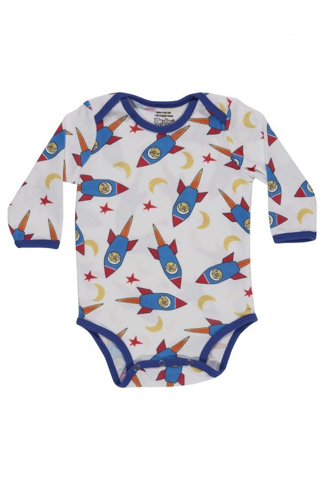 infant long sleeve onesie with rocket print