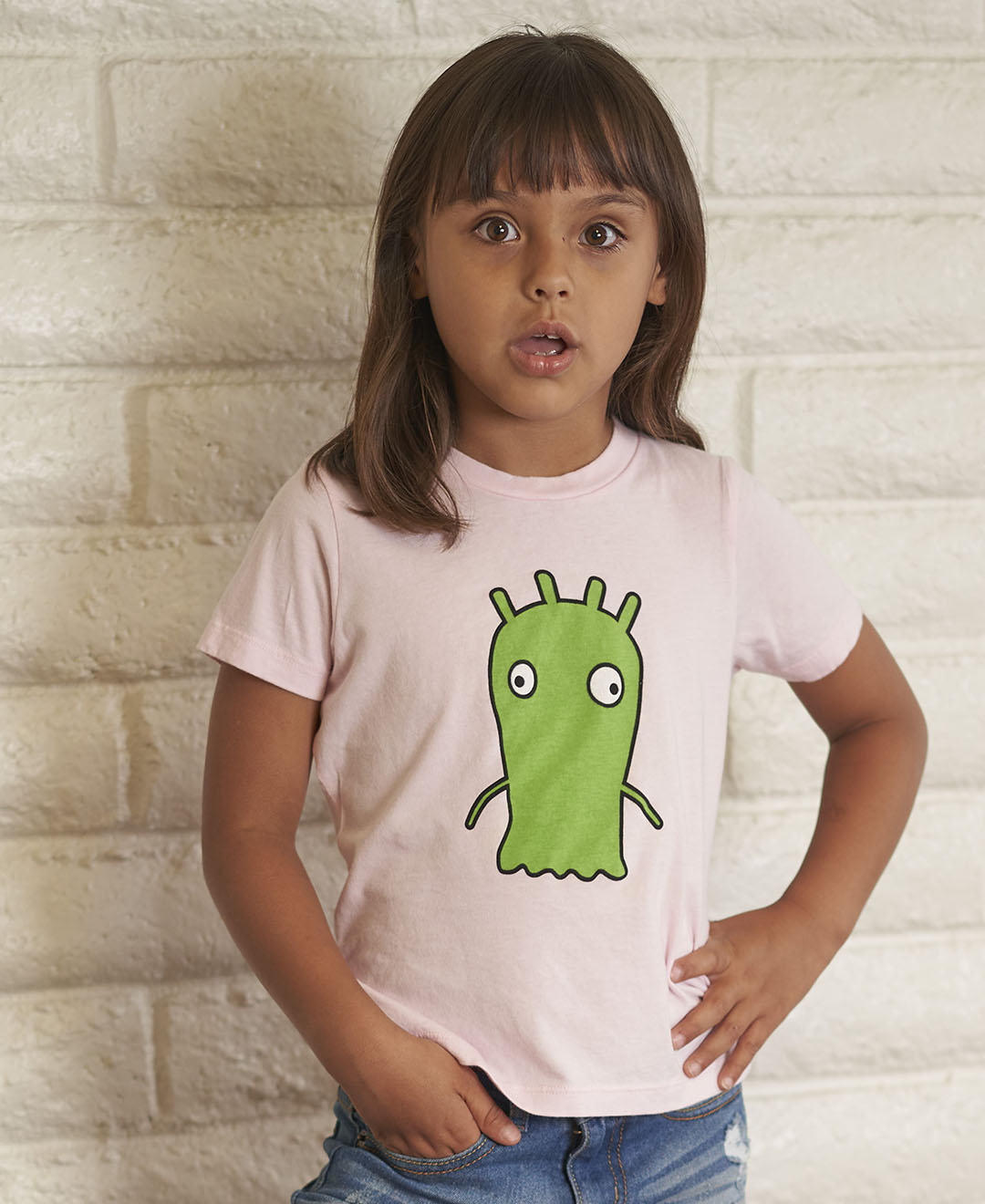 Girl wearing t-shirt with monster