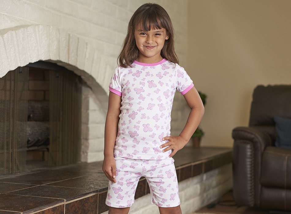 girl in short sleeve butterfly pajamas